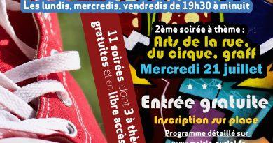 SOIREE JEUNES DE CE SOIR MERCREDI 21/07 : ACCUEILS LIMITES A 50 PARTICIPANTS à 19h30 et 21h30